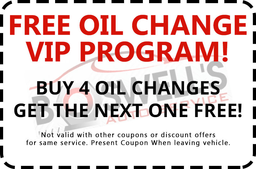 After 4 Oil changes - get the 5th for free!
